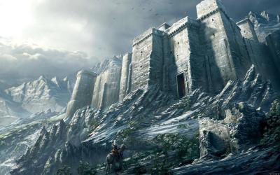medieval wallpapers castle desktop mountain fantasy hd fortress medival mountains altair massive cool creed winter built into huge