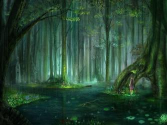 forest fantasy wallpapers backgrounds background desktop rain anime enchanted game scenery