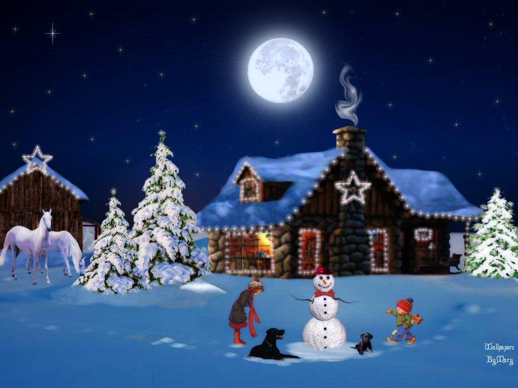 Old Fashioned Christmas Scene Wallpaper   Imagewallpapers.co