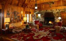 HD Log Cabin Living Room with a Fireplace