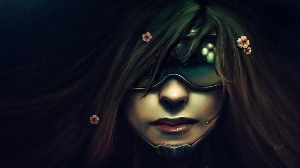 Futuristic Cyborg Girl Art