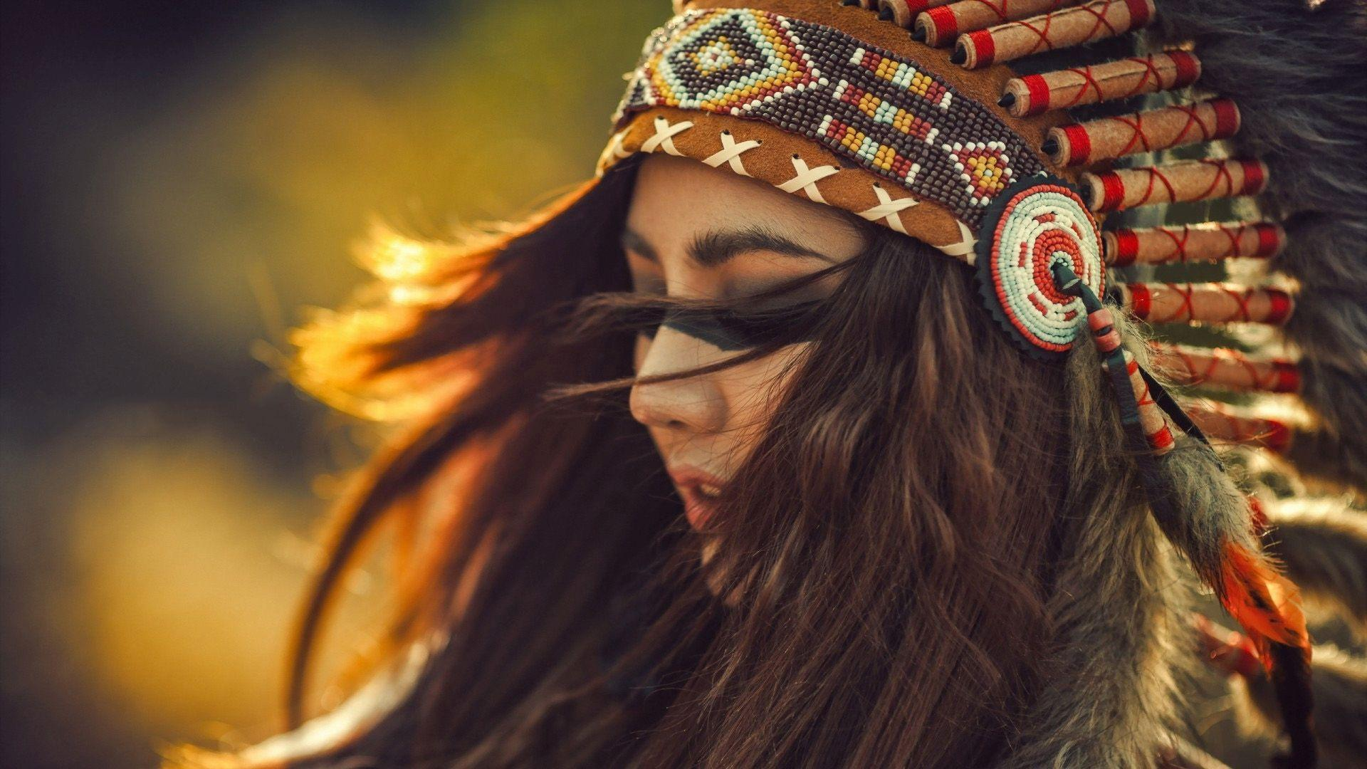 native american headdress girls