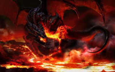 Fire Wallpaper Black Dragon