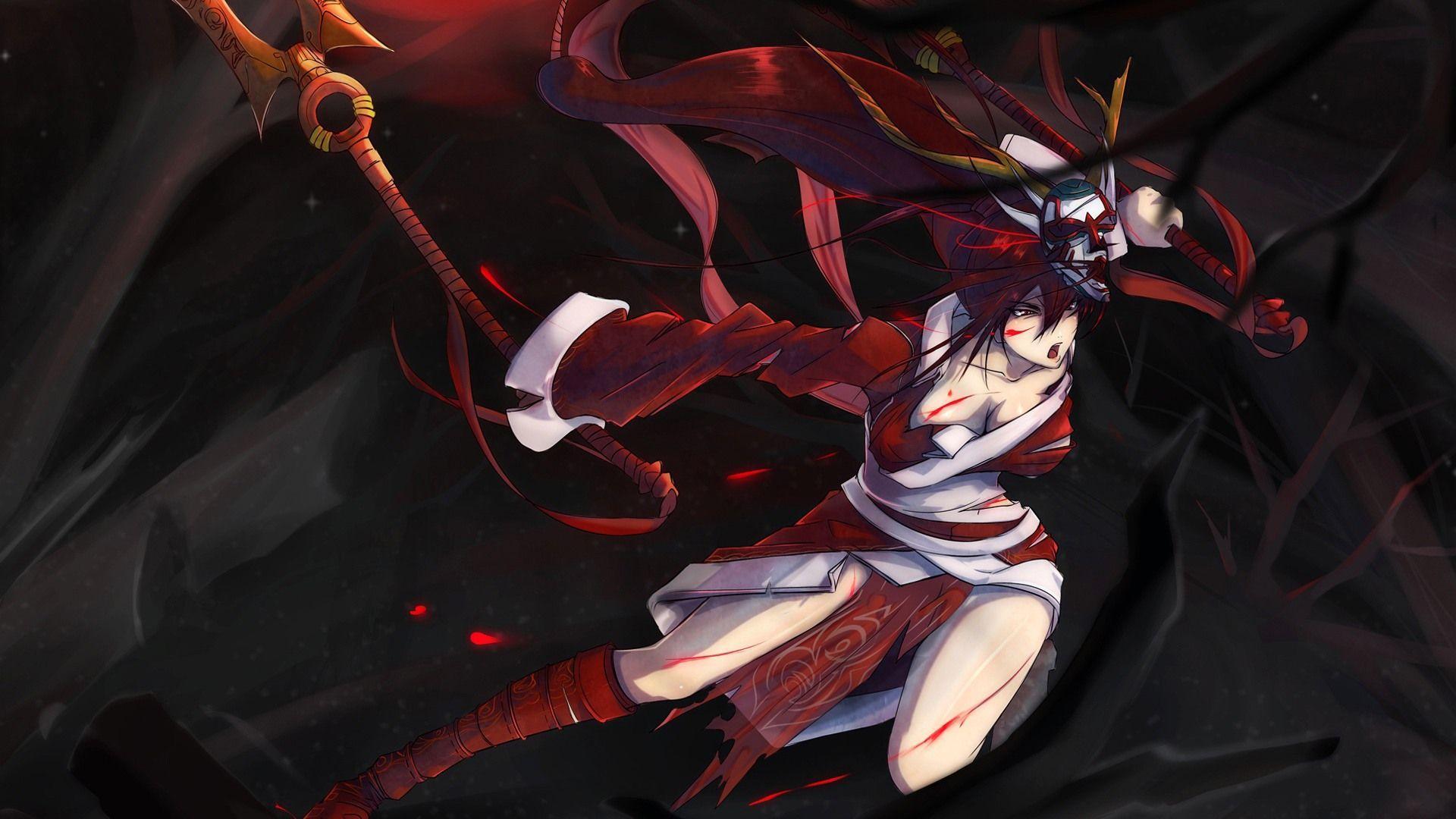 Girl In Blood Wallpaper League Of Legends Bloodmoon Akali Hd Wallpapers