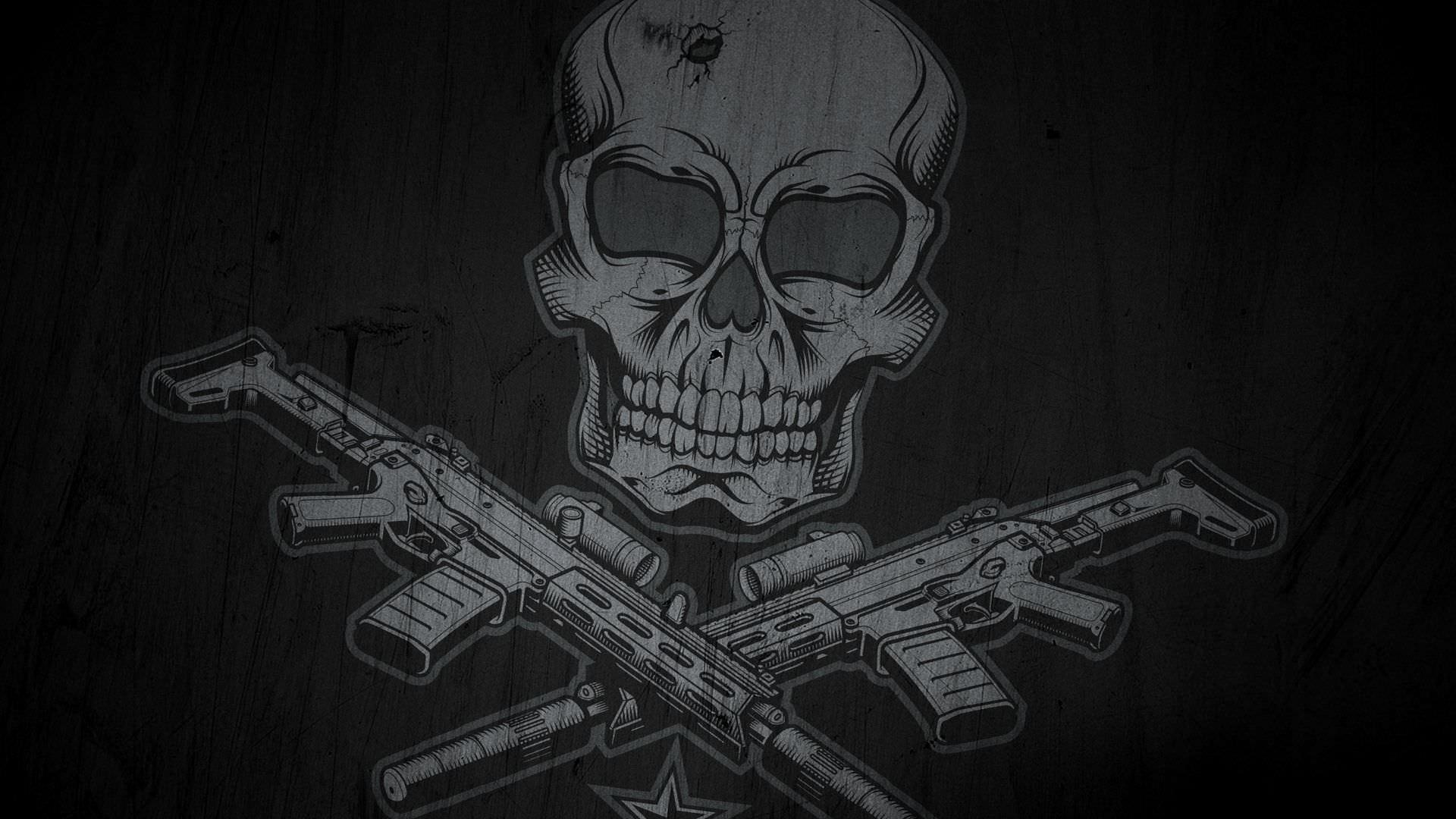 skulls with guns wallpapers