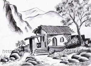 pencil drawing wallpapers landscape easy drawings cave