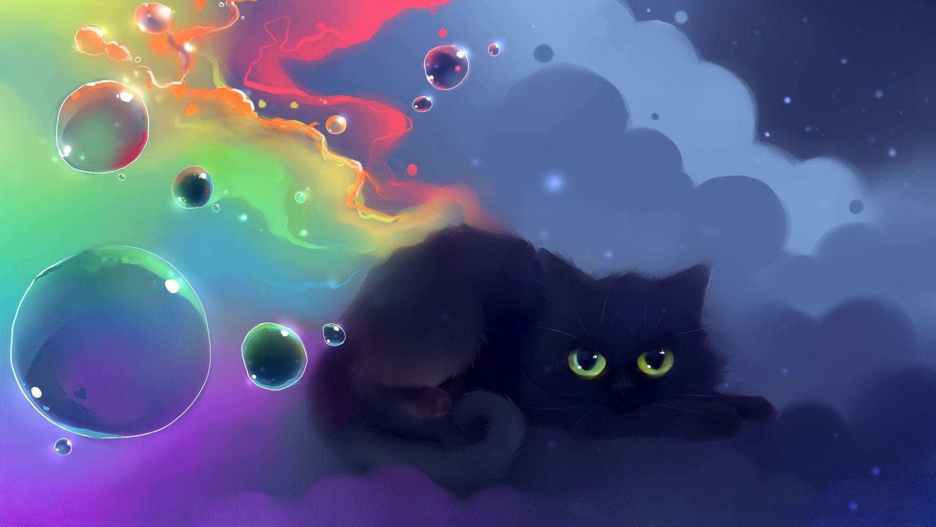 1920x1200 black cat halloween wallpaper pc. Kawaii Black Cat Halloween Wallpapers Wallpaper Cave
