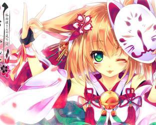 fox anime mask wallpapers shrine maiden kitsune cute widescreen manga variant archetype divine cleric domain deviantart class harima kenji start