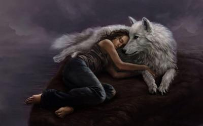 wolf fantasy wolves background wallpapers werewolves woman sleeping backgrounds wall spirit visit wallpapersafari creatures alphacoders
