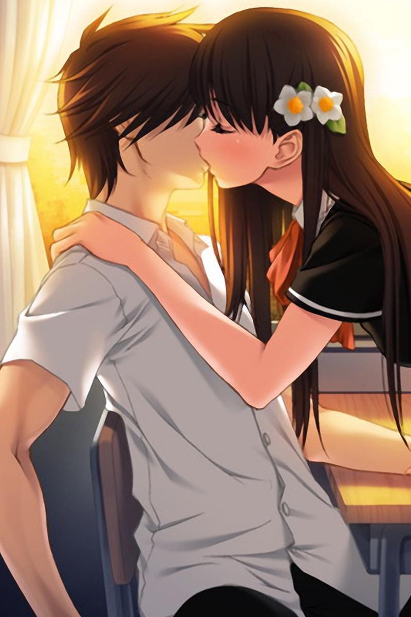 Anime Girl Hugging Boy : anime, hugging, Anime, Cartoon, Kisses, Wallpapers, Wallpaper