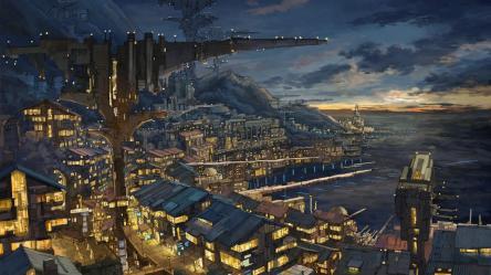 anime night wallpapers buildings lights hd desktop backgrounds wallpapermaiden category kiss him widescreen
