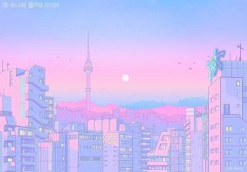aesthetic anime desktop pink wallpapers cute backgrounds tokyo computer scenery pastel pc laptop kawaii japan vaporwave fnatic artwork fanzine streetscapes