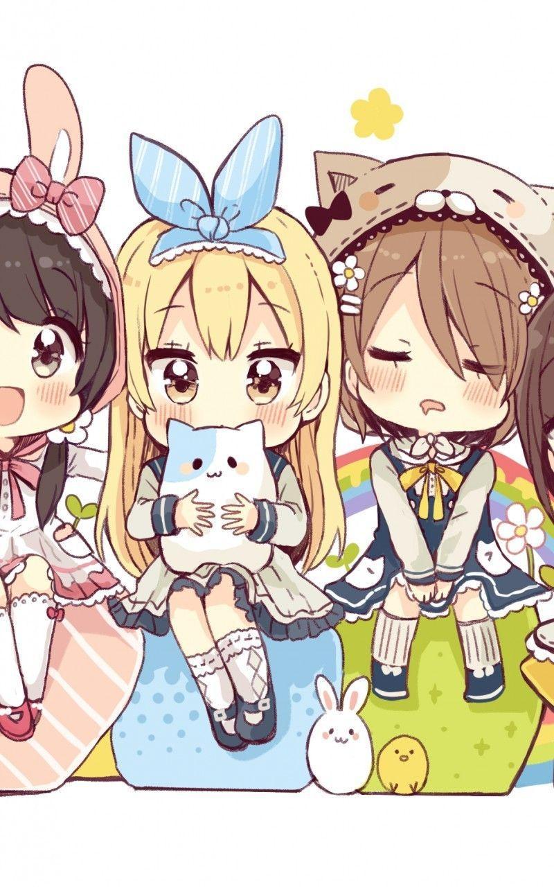 4 Anime Girls : anime, girls, Anime, Friends, Wallpapers, Wallpaper