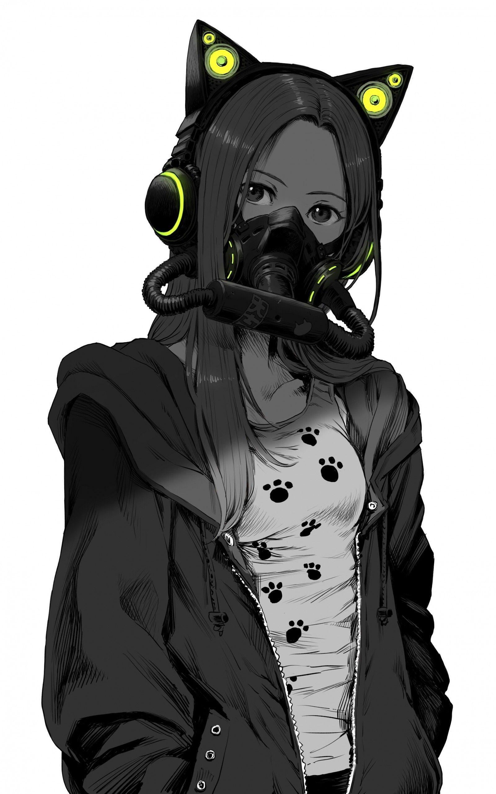 Anime Girl Mask : anime, Anime, Black, White, Wallpapers, Wallpaper