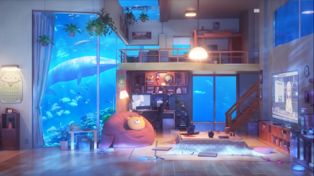 room anime living aesthetic underwater bedroom wallpapers background hd cute alphacoders wall 1920 cave wallpapercave