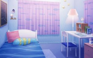 anime bedroom wallpapers bed desk