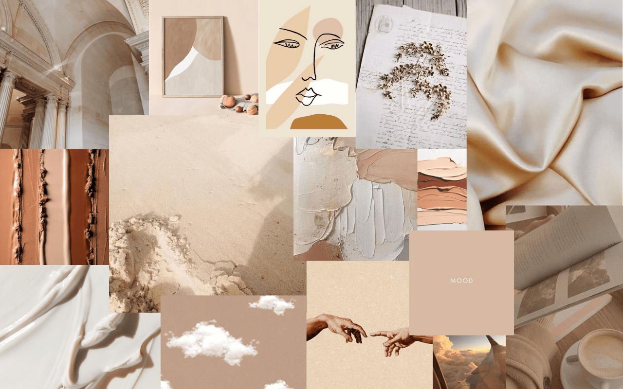 Beautiful flowers, pastel, cute and more. Aesthetic Beige Desktop Wallpapers - Wallpaper Cave