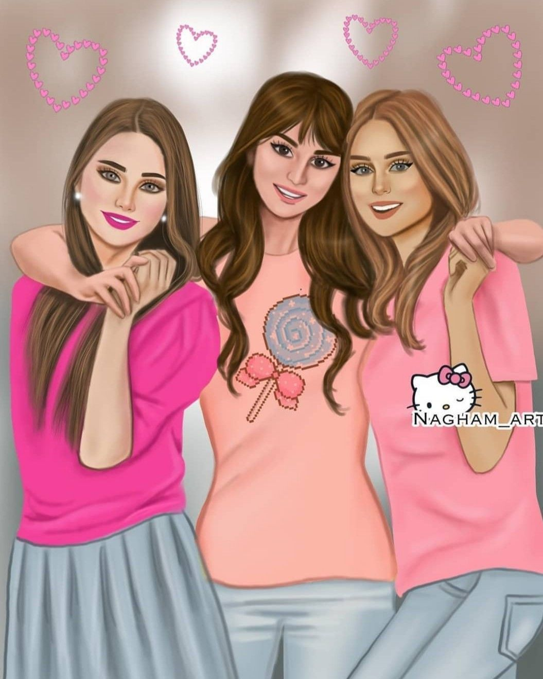 3 Best Friends Drawing : friends, drawing, Three, Friends, Girls, Wallpapers, Wallpaper