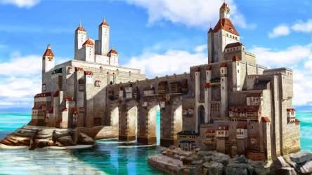 Brown and gray stone castle castle medieval DeviantArt fantasy art HD wallpaper Wallpaper Flare