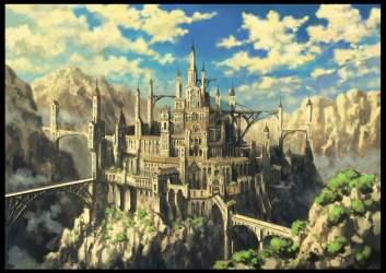 Gray castle illustration castle fantasy art bridge HD wallpaper Wallpaper Flare
