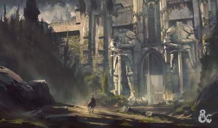 fantasy palace artwork digital illustration knight gate riding horse front hd