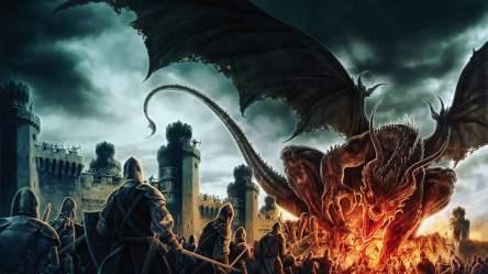 Cartoon illustration fantasy art dragon medieval castle HD wallpaper Wallpaper Flare