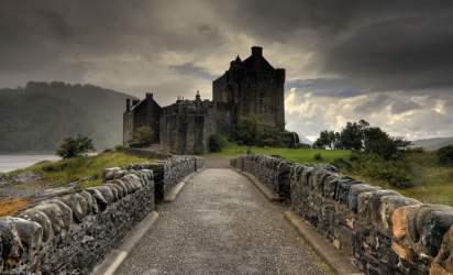 castle medieval scotland architecture concrete gray hd