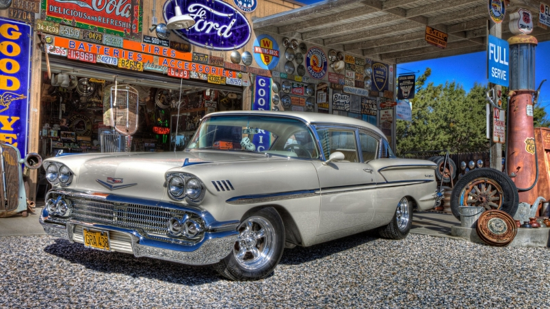 Classic Old Car Wallpapers 1600x900 1958 Classic Chevy Hd Wallpaper Wallpaperfx