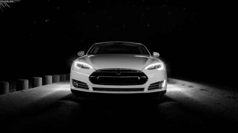 White Tesla Front HD Wallpaper WallpaperFX