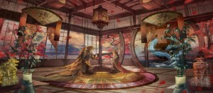 anime japanese traditional mask warrior kimono wings roomscape background wallpapermaiden konachan resolution clouds armor autumn drink dragon fan brown hair
