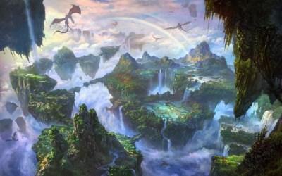 fantasy landscape sky waterfalls islands dragons rainbows wallpapermaiden
