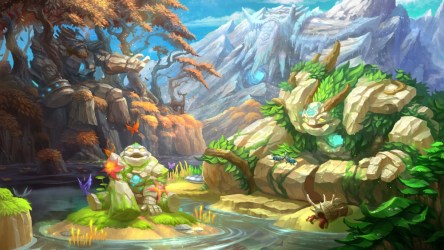 fantasy landscape cel tiny colorful shading creatures wallpapers butterflies dota2 golems giant hd desktop dota loading screen perennial wallpapermaiden 7wallpapers