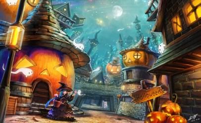halloween anime pumpkin moon witch pc game ghosts artwork computer games hat desktop wallpapers village ghost hd hair blushing aqua