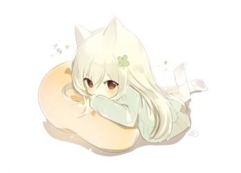 chibi anime cute animal ears pillow wallpapers wallpapermaiden isekai seikatsu rem natsuki subaru kara hajimeru maid ram zero re