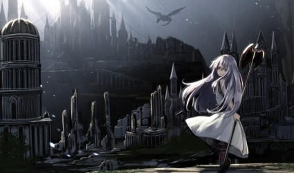 anime dark theme castle bicolored eyes hair wallpapers wallpapermaiden backgrounds desktop hd