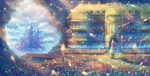 castle anime fantasy shiny leaves sakimori gate open sawano hiroyuki wallpapers wallpapermaiden backgrounds