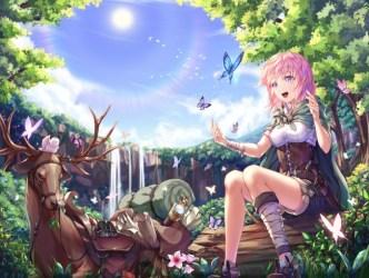 anime forest adventurer fantasy butterflies pink waterfall hair smiling wallpapers wallpapermaiden flower background butterfly