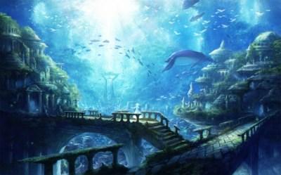underwater ruins fishes fantasy wallpapers wallpapermaiden water fish background animal desktop landscape anime ocean under tree konachan ruined air respond