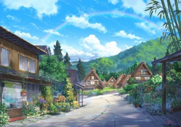 anime nature landscape houses clouds