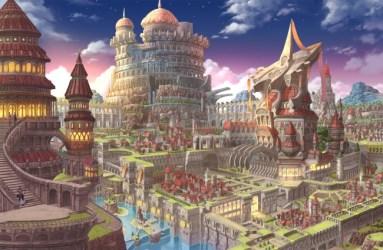 anime fantasy castle village witch waterfall desktop wallpapers wallpapermaiden арт