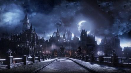 castle fantasy dark bridge moon clouds wallpapers desktop wallpapermaiden