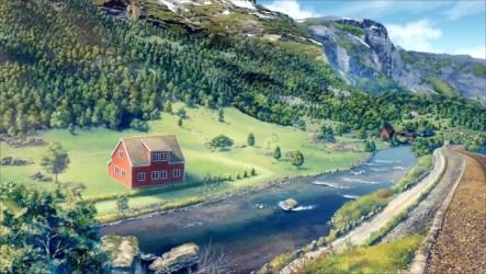 anime landscape mountain scenic river railway wallpapers sky desktop train realistic wallpapermaiden grass water konachan tree options