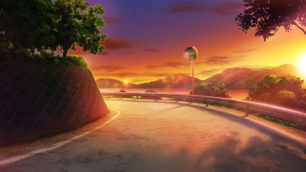 Wallpaper Anime Landscape Sunset Scenery Road Trees Sky WallpaperMaiden
