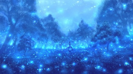 Wallpaper Anime Landscape Scenery Anime Gir Dress Blue Particles WallpaperMaiden