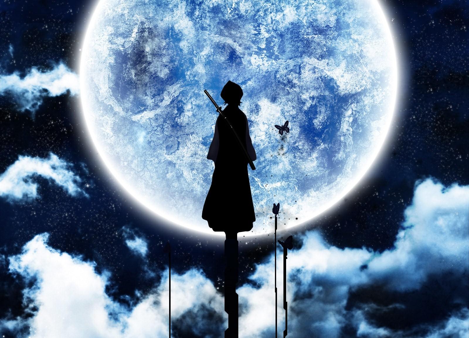 Cute Computer Desktop Wallpaper Girl Rukia Bleach Anime Full Moon Night Anime