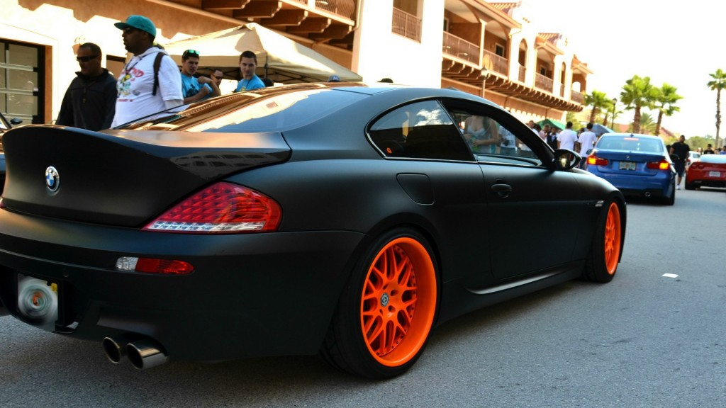 Full Hd Car Logos Wallpapers Custom Black Bmw With Orange Rims Cars