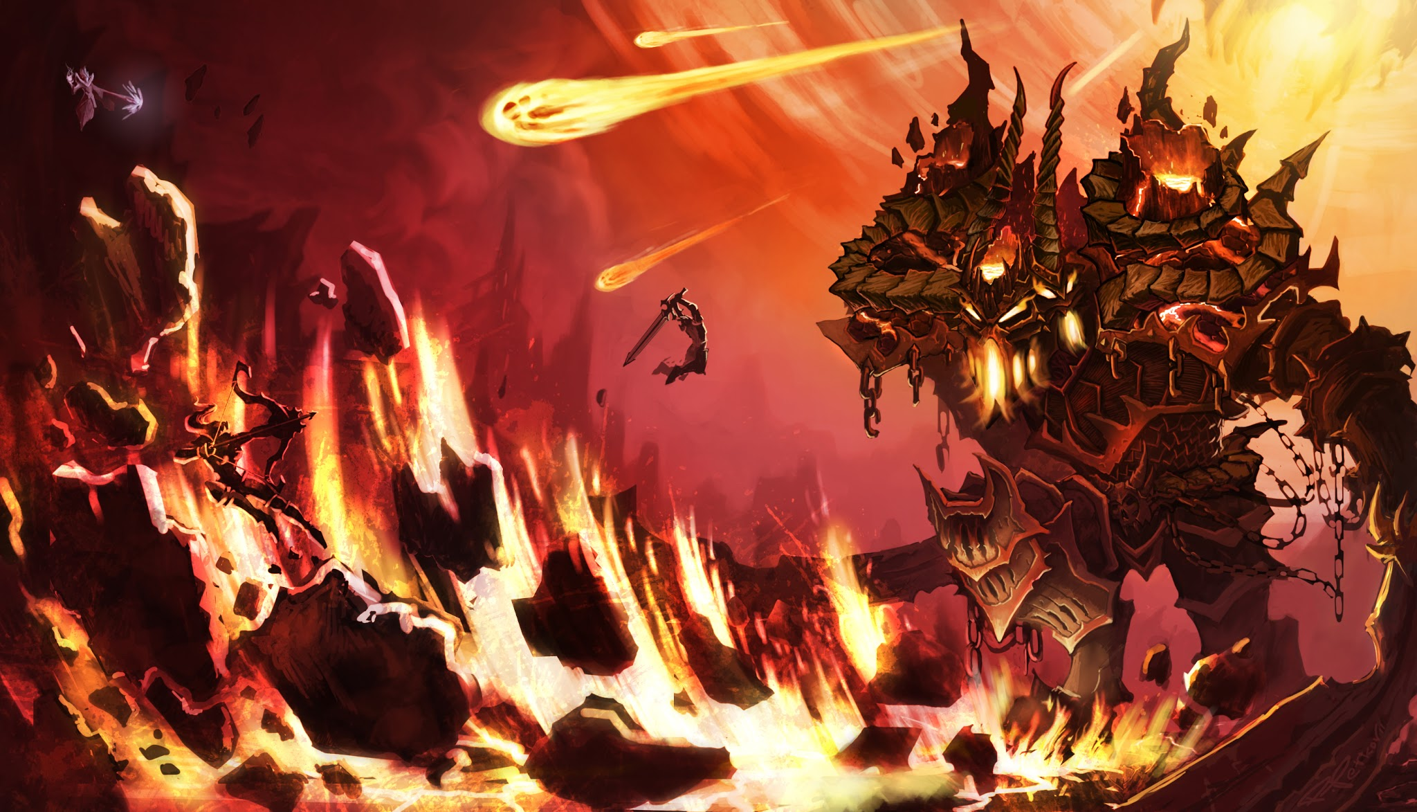 The Rock Hd Wallpapers 1080p Warriors Attacking A Lava Monster Anime