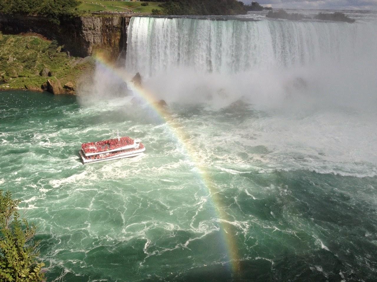 Blue Nile Falls Wallpaper Ferry Heading Towards Niagara Falls With Rainbow Boat