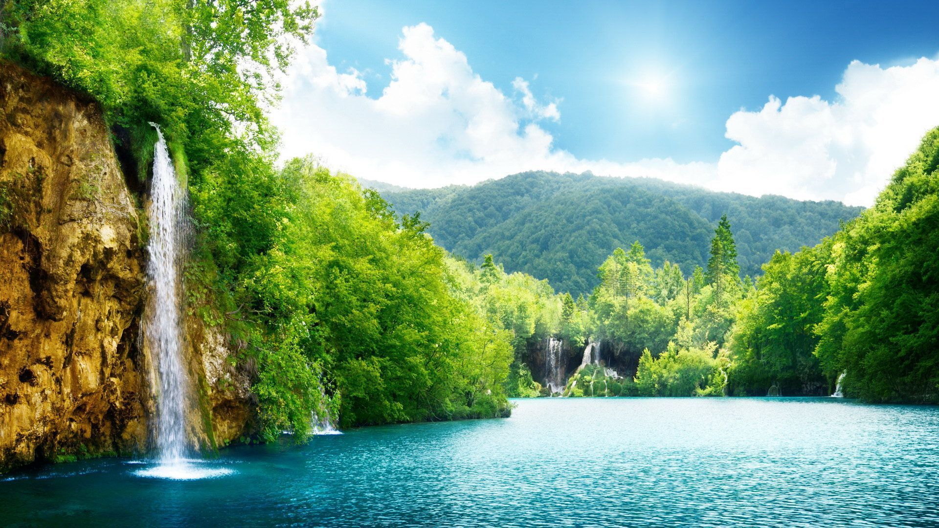 Awesome Animated Wallpapers Scenery Image Clouds Green Image Tree Waterfall