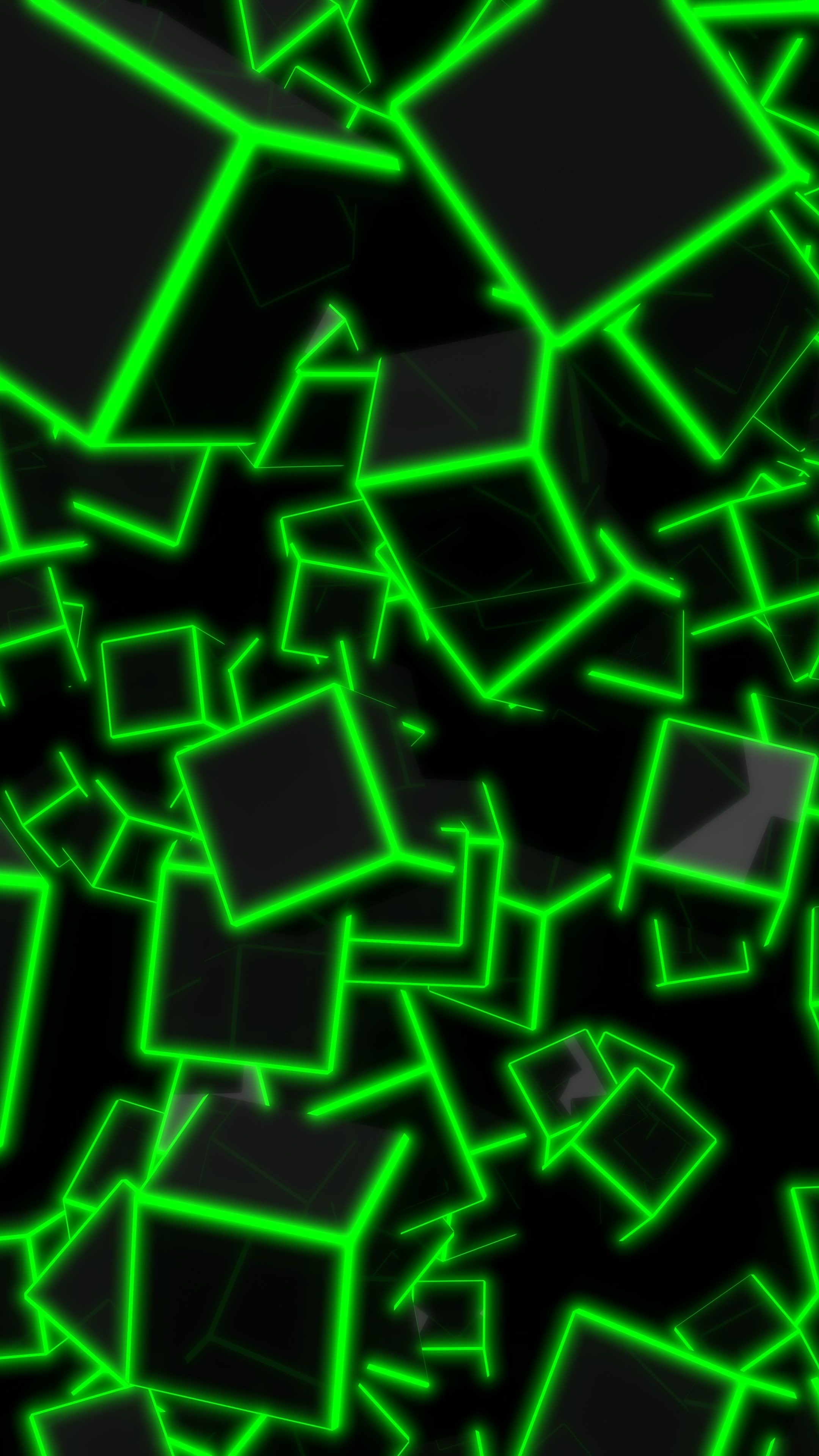 3d Laser Wallpapers 3d Green Neon Cubes 8k Uhd Wallpaper